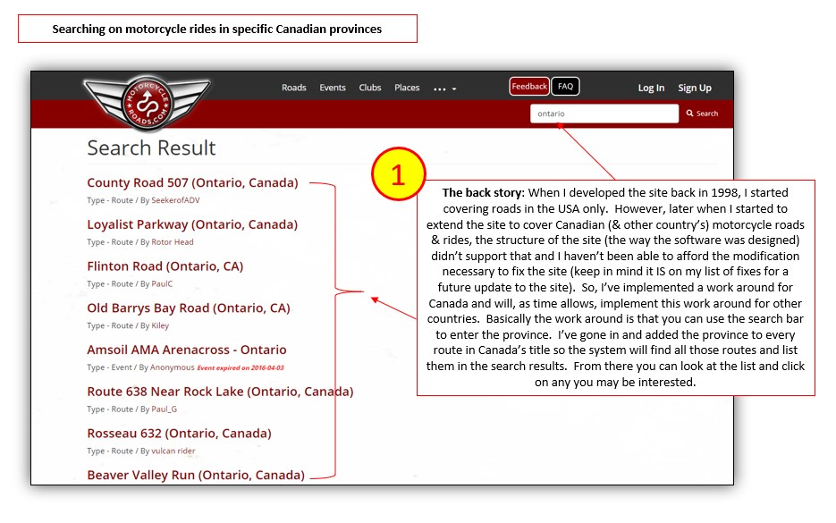 Find motorcycle rides in specific Canadian provinces