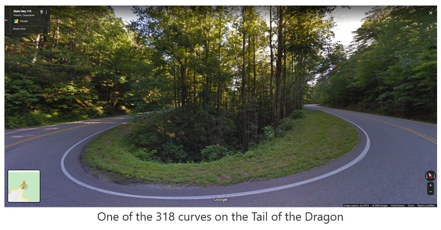 photo of a curve along the Dragon's Tail motorcycle ride in Tennessee