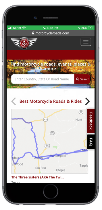 motorcycle roads info formatted for mobile