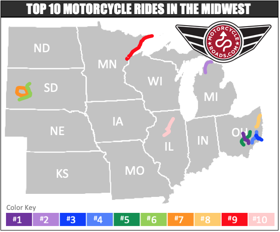 Top 10 motorcycle routes in the midwest