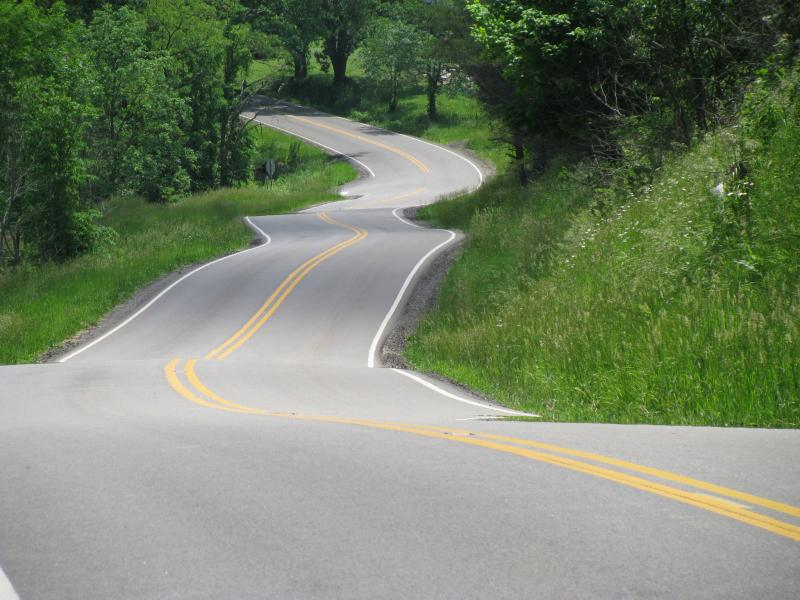 snapshot of a great collection of road curves along the Triple Nickel