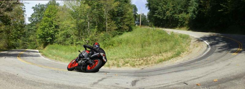 Great photo of a motorcycle taking one of the curves on Ohio route 536