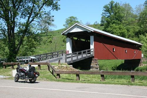 Ohio route 26 - photo of motorcycle by covered bridge