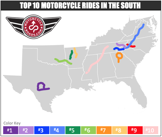 south best motorcycle rides