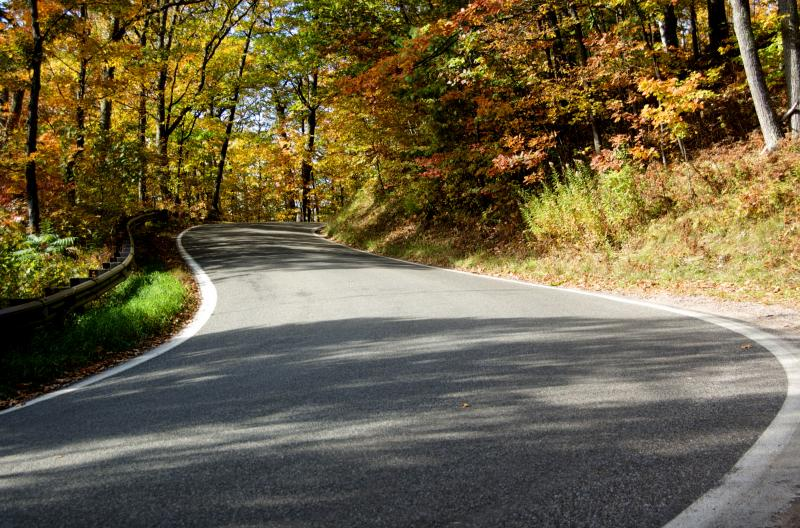 A great fall scene of the Michigan Tunnel of Trees motorcycle road!